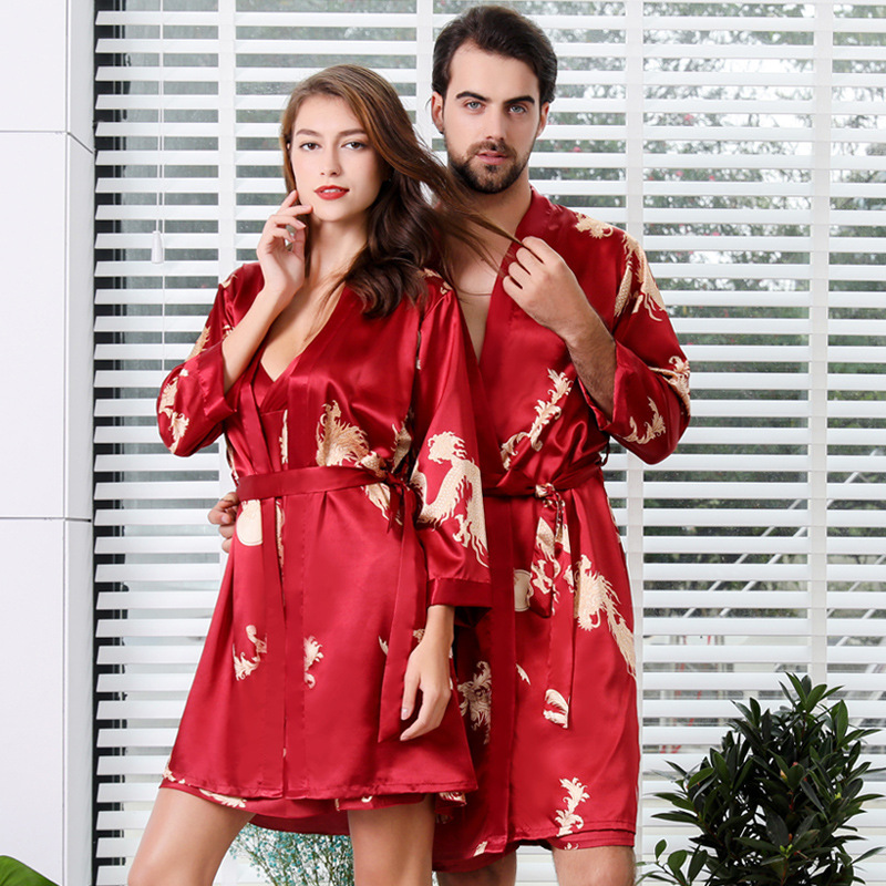 Lovers Silk Printing Robe In National Sling Robe Ma'am Pajamas Man Long Sleeve Spinning Real Silk Bathrobe Shorts Sleep Set