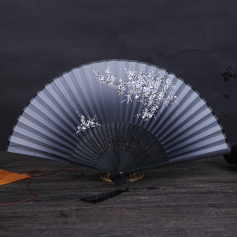 1pc Vintage Chinese Spun Silk Flower Printing Hand Fan Folding Hollow Carved Hand Fan Event & Party Supplies DA