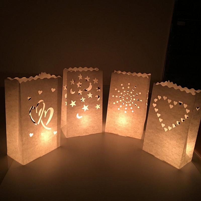 10PCS Wedding Heart Tea Light Holder Paper Lantern Candle ...