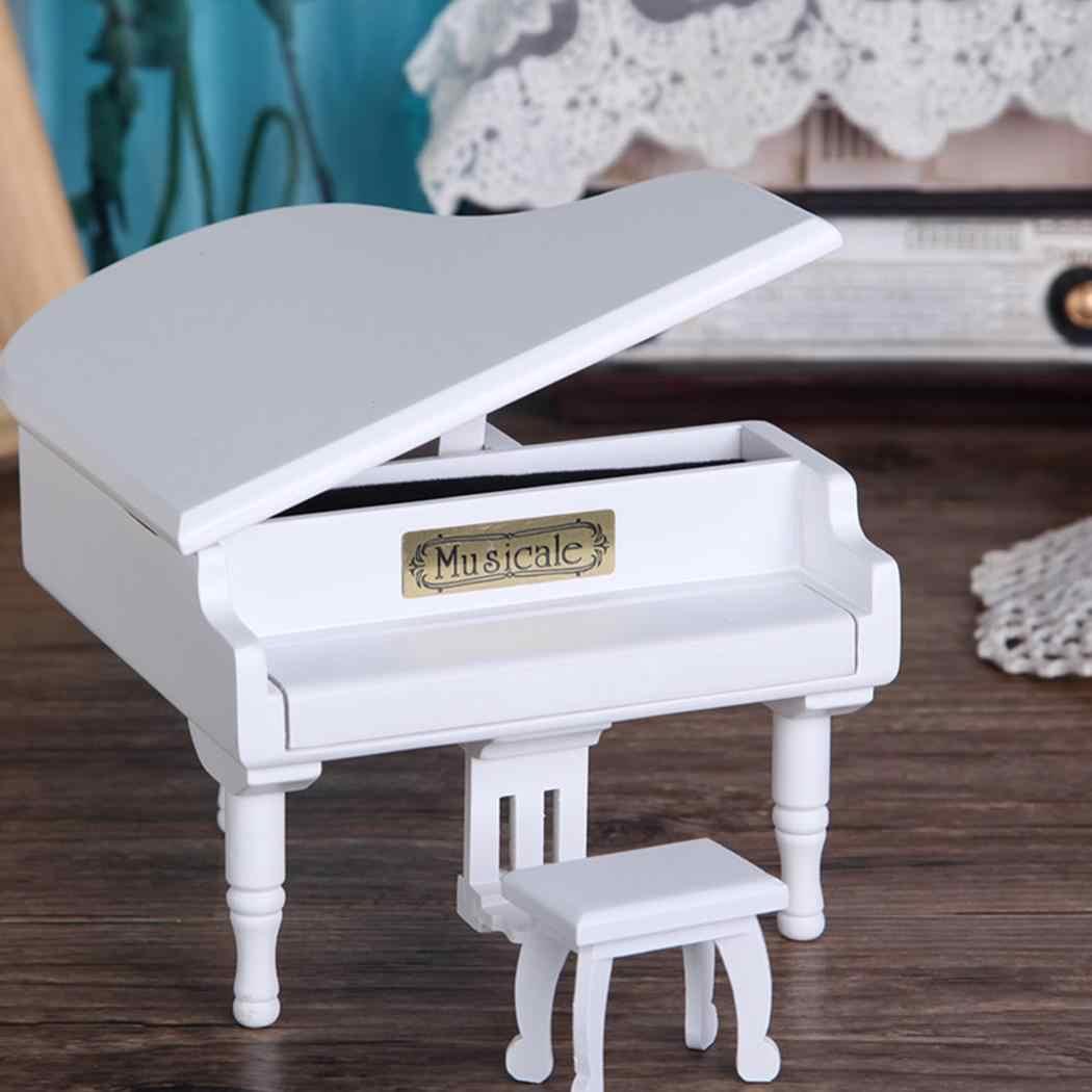 Музыкальная Домашняя мини унисекс деревянные рождественские украшения коробка день рождения Белые Повседневные подарки геометрическое пианино