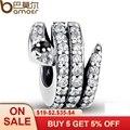 Gift 925 Sterling Silver Sparkling Snake, Clear CZ & Black Crystal Charms Fit Bracelet Necklace DIY Jewelry PAS115
