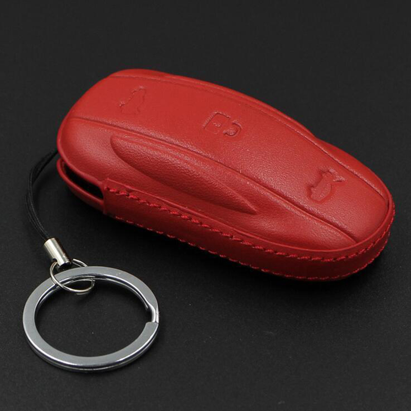 1pc Brand New And High Quality Leather Car Smart Remote Key Fob Case Holder Cover Fit For Tesla Model X /S