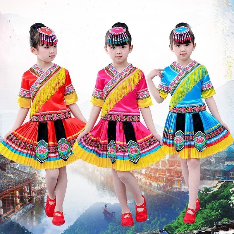 Songyuexia Show Dance Clothing Girl Yunnan Ethnic Minority Gourd Silk Performance Clothes & Accessories