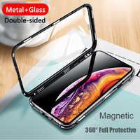 Funda magnética de Metal de cristal de doble cara de lujo para iPhone XS MAX XR X 7 8 Plus funda de teléfono funda magnética 360 carcasa de protección completa