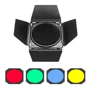 Image 3 - Godox BD 04 Scheune Tür + Honeycomb Grid + 4 Farbe Filter Rot/Blau/Grün/Gelb Für Bowen montieren Standard Reflektor Blitz Zubehör