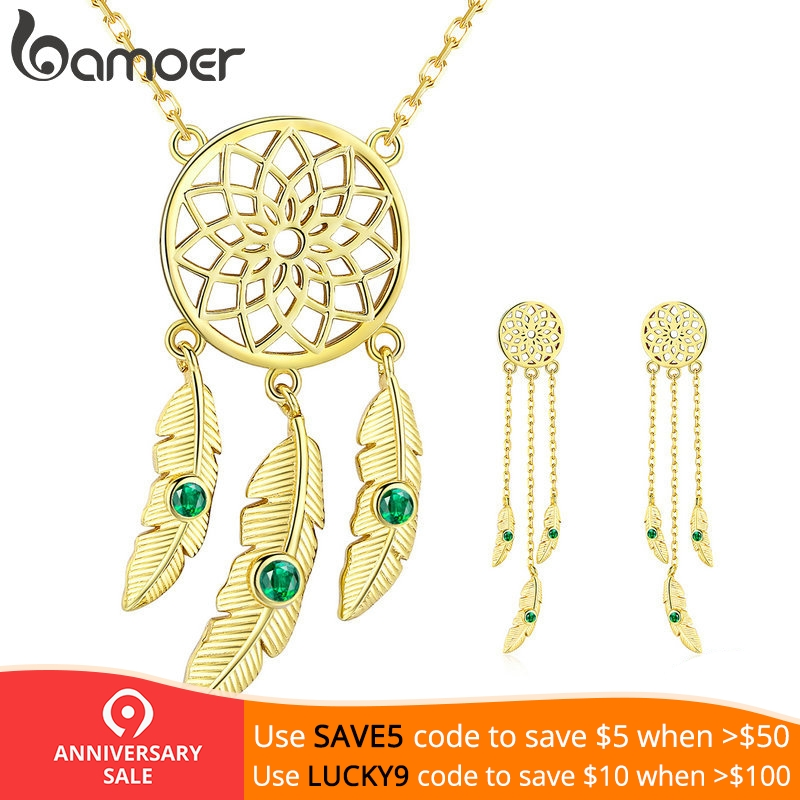 BAMOER Authentic 925 Sterling Silver Dream Catcher Long Earrings Gold Color Jewelry Sets for Women Vintage Jewelry ZHS106
