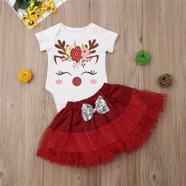 Vêtements de noël pour enfants 0-24M   Tenue de fête de noël pour petite fille, licorne, manches courtes, jupe supérieure, ensemble mignon de robe de princesse