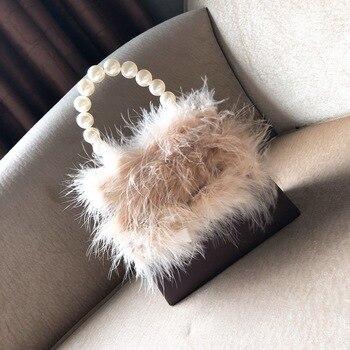 Women's Handbags Autumn Winter Furry Pearl Handle Temperament Small Square Bag Shoulder Crossbody Bag Bolsa Feminina