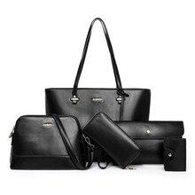 цена на 5pcs Women Bag Set Leather Handbags Fashion Shoulder Bag Big Capacity Crossbody Bags Purse Clutch Composite Tote Bag Bolsa Mujer