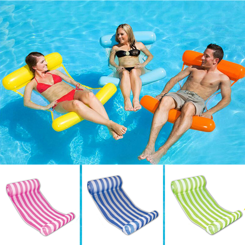14 Colors Foldable Water Hammock Mesh Inflatable Pool Float Air Mattress Beach Bed Toys Lounge Lie on Swimming Ring Chair boia Swimming Rings  - AliExpress