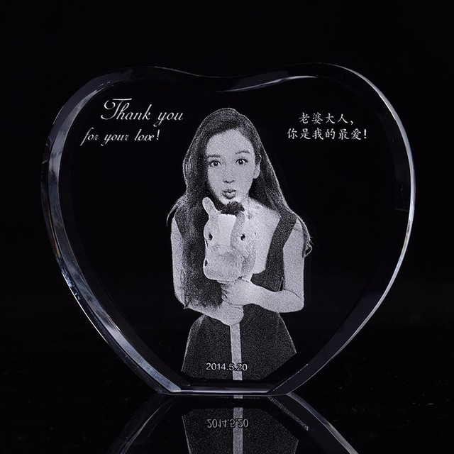 Custom Heart Crystal Sculpture Photo Frame With Your Image Engraved Photo Album Family Wedding Pets Souvenirs