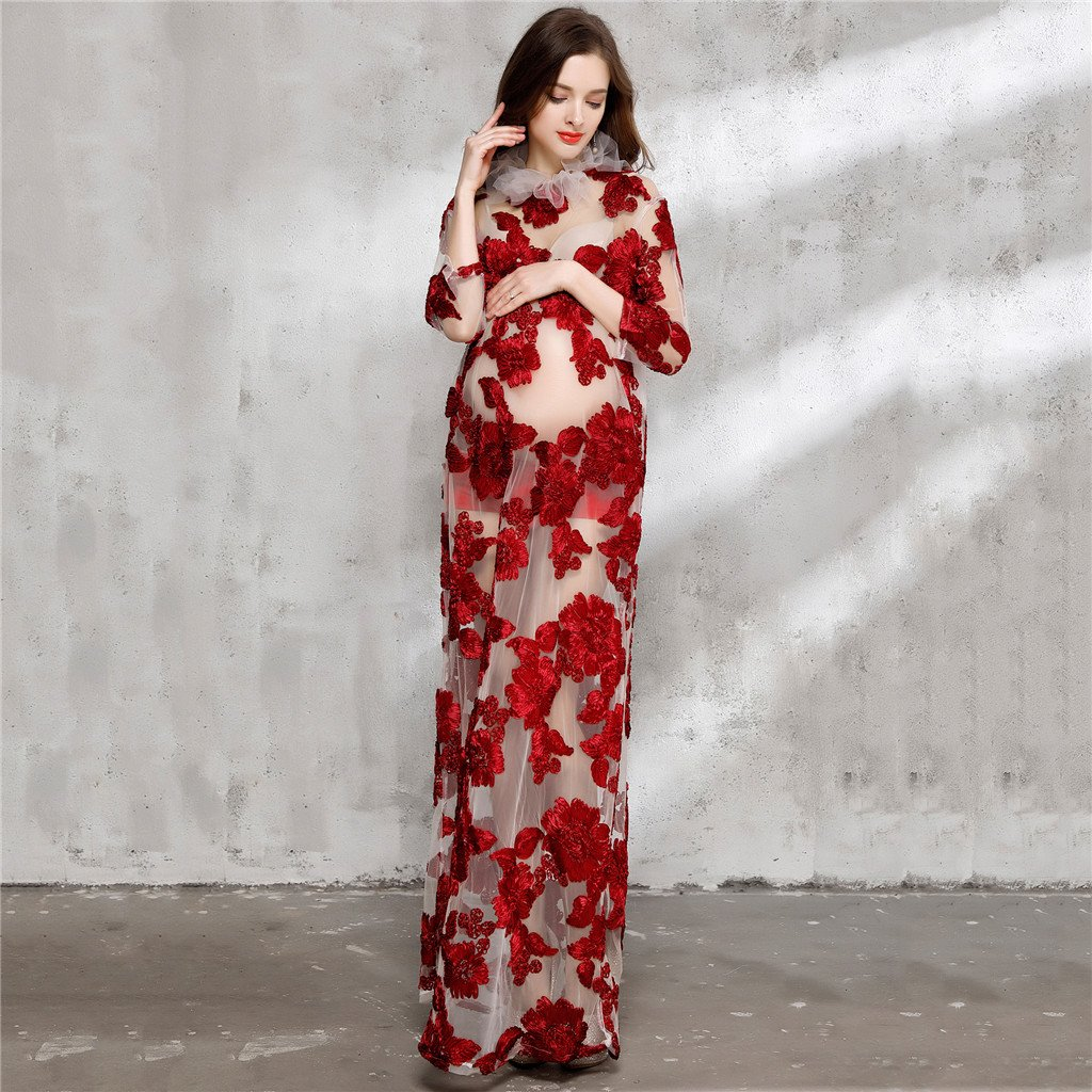 9a6c621b63d06 Pregnant Woman Maternity Dress Sexy Mesh Maxi Dress Maternity Photography  Props Pregnancy Dress Clothes for Photo Shoot