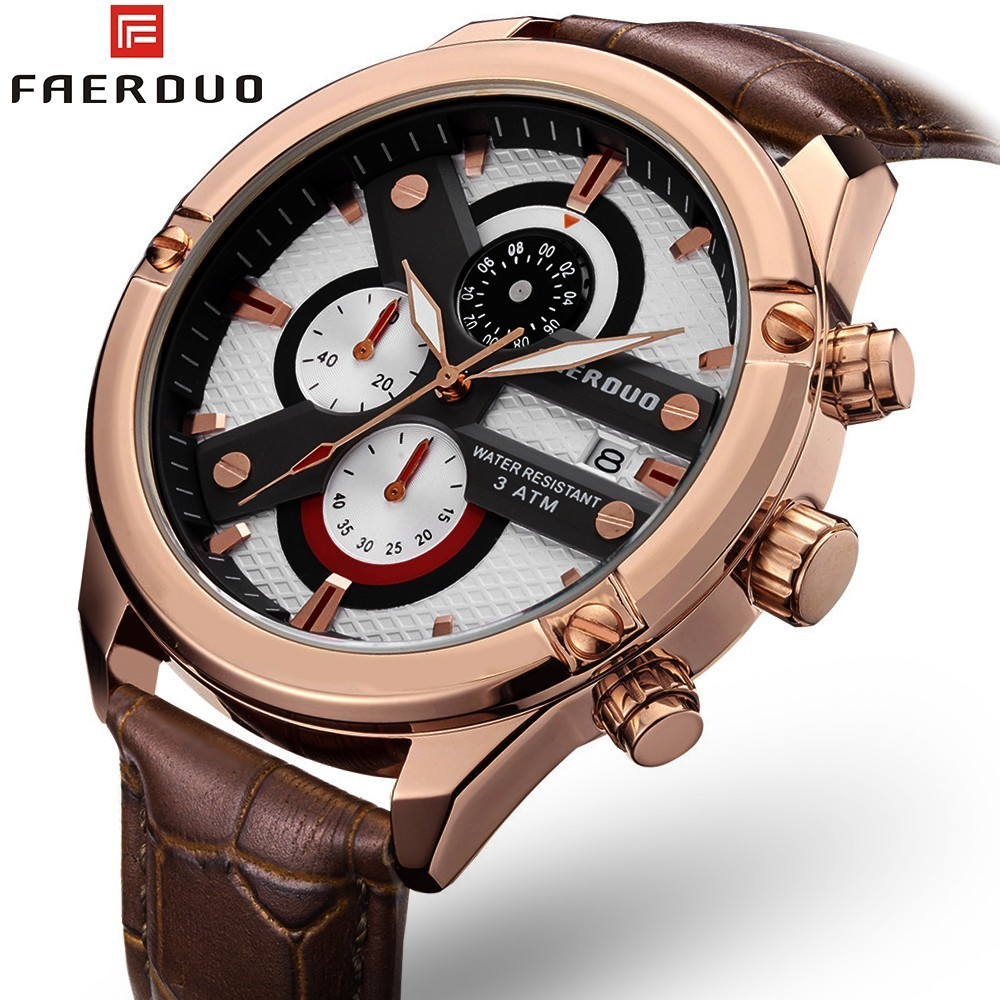 FAERDUO 3D Big Dial Mans Watch Hot Sale Rose Gold Men Fashion Genuine Leather Watches 2019 Luxury Brand Waterproof New