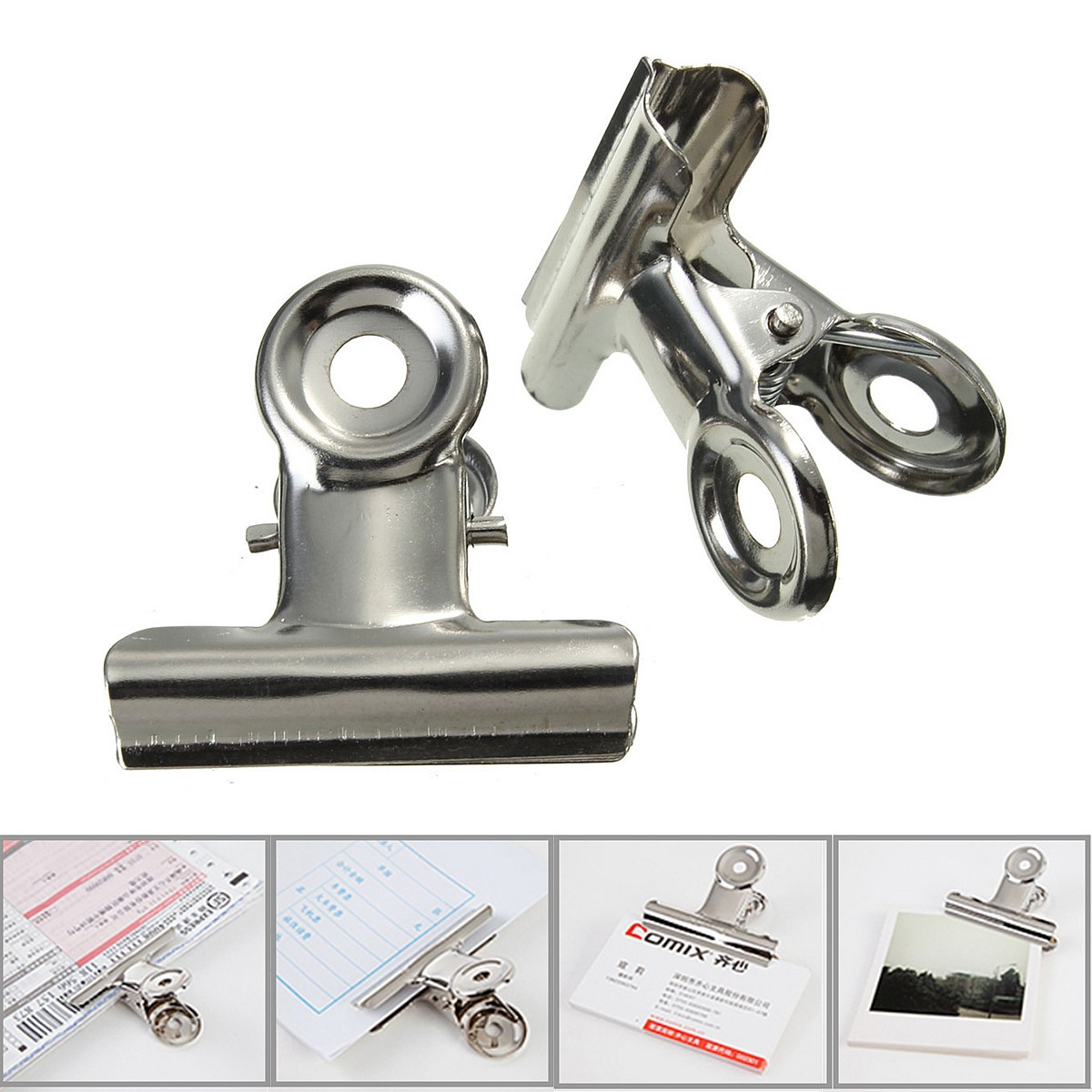 10Pcs 31mm Stainless Steel Silver Bulldogs Clips Money Letter Paper File Metal Binder Clip Clamps Office School Supplies