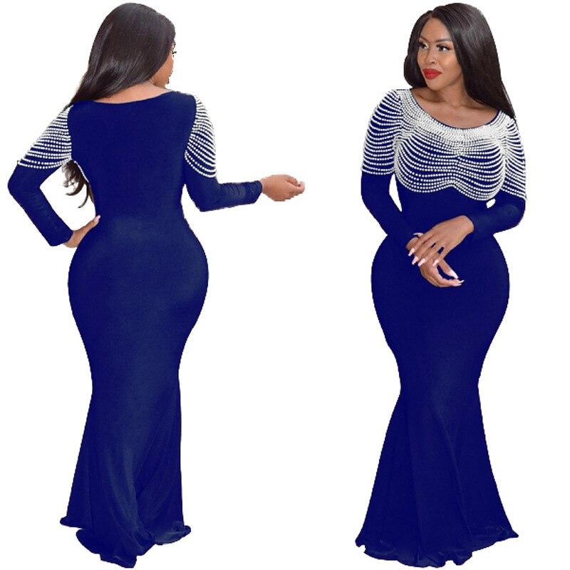 2019 automne élégant style femmes grande taille longue robe