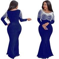 2019 autumn elegent style women plus size long dress