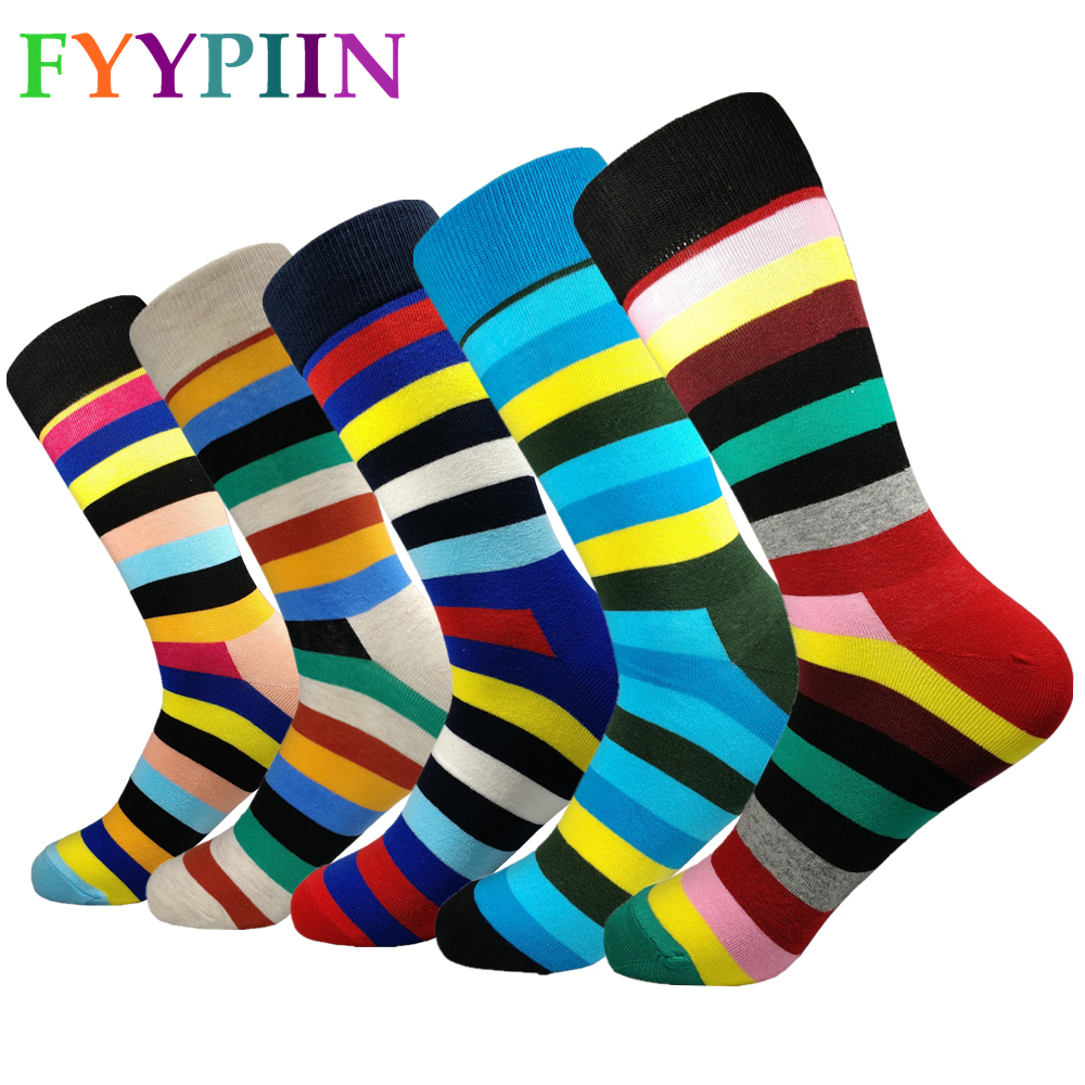 Men Socks Standard Fashion  2019 Men's Leisure High-quality Striped Socks Latest Lengthen Increase Happy New Color Cotton Socks