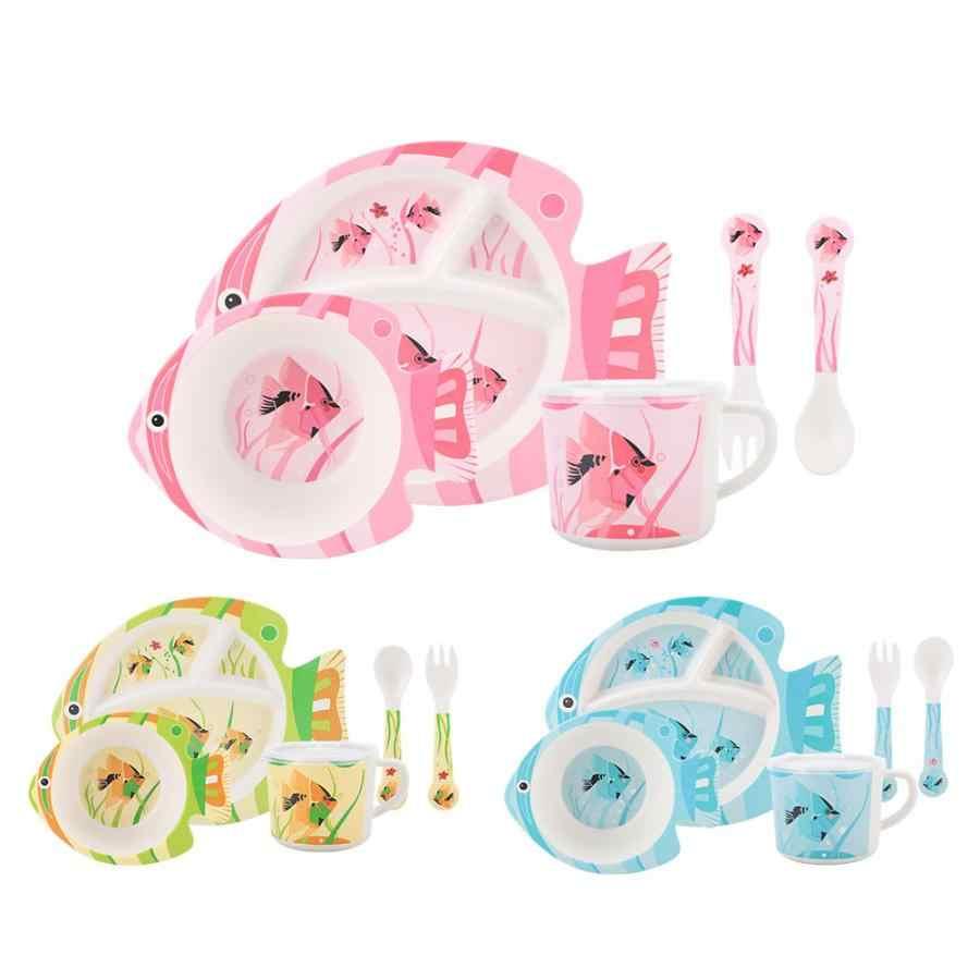 Детская тарелка для кормления с рисунком рыбы детская вилка ложка стаканчики посуда набор для детей