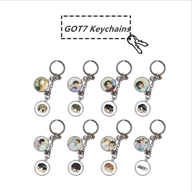 US $3 99 |Kpop GOT7 Members Keychains Keyring BamBam Jinyoung Key Holder  3rd Album Cartoon Character Fashion Bag Pendant Charm-in Key Chains from