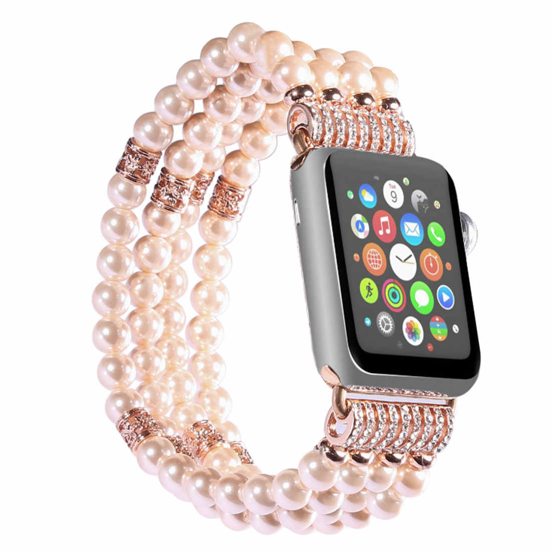Fashion Watch Band Handmade Elastic Stretch Pearl Natural Stone Imitation pearl bracelet watchband
