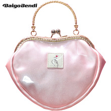 Hot ! Heart Shape Pink Jelly Bag Girls Students  Lovely Small Messenger Frame Transparent Clasp Handbag Ladies