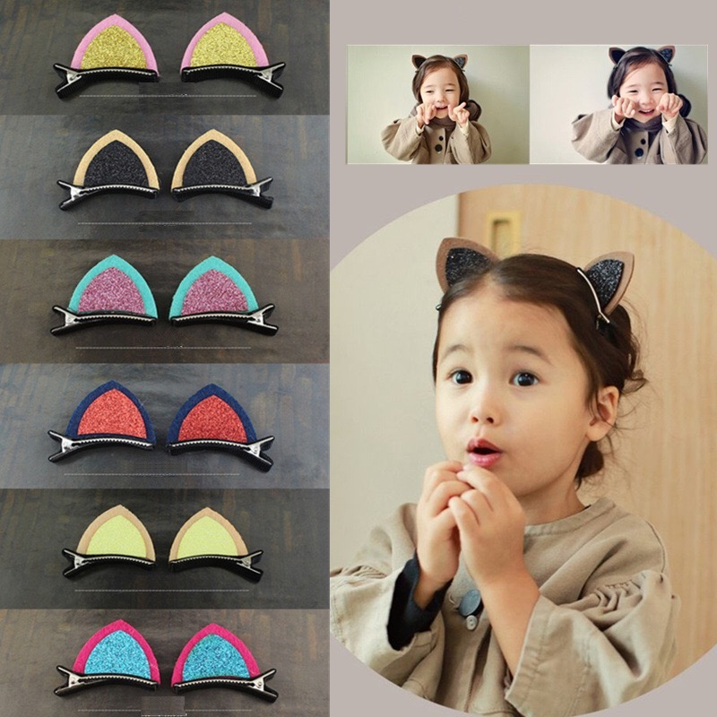 2PCS Cute Hair Clips For Girls Clip Lovely Cat Ear Hairpin Headwear Accessories Children