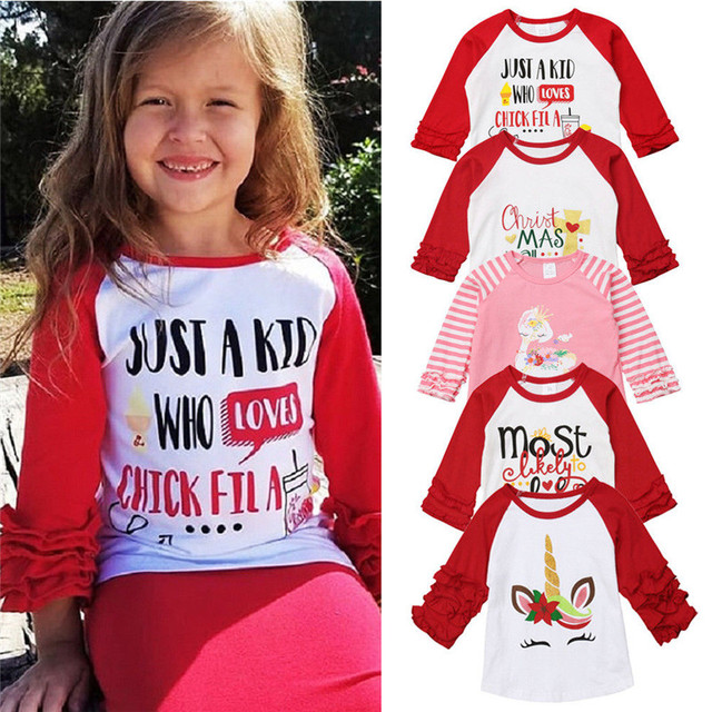 3aff105a087b9 US $1.75 20% OFF|PUDCOCO Hot Newest Christmas Tee Toddler Baby Girl Long  Sleeve Cotton Tops T shirt Fashion Party Child Clothes 1 5Y-in Tees from ...