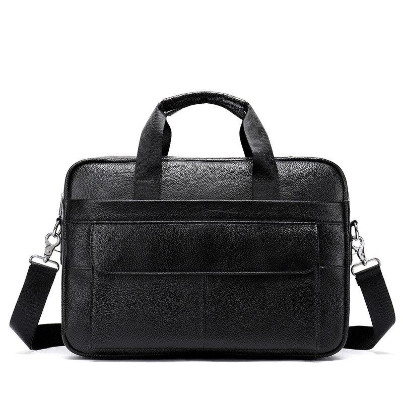 Retro Men Cow Leather Briefcase Shoulder Messenger Bag For 14 Laptop Men s Crossbody Briefcase Bags