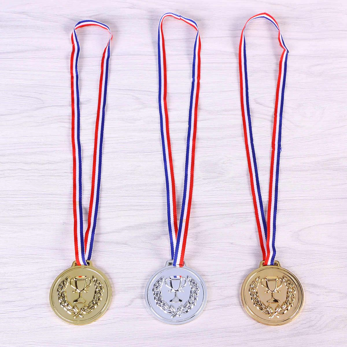12 шт Детские Игрушки для раннего обучения трофей медали Интересные детские медали (серебряные медали * 4, золотые медали * 4 и медь * 4)