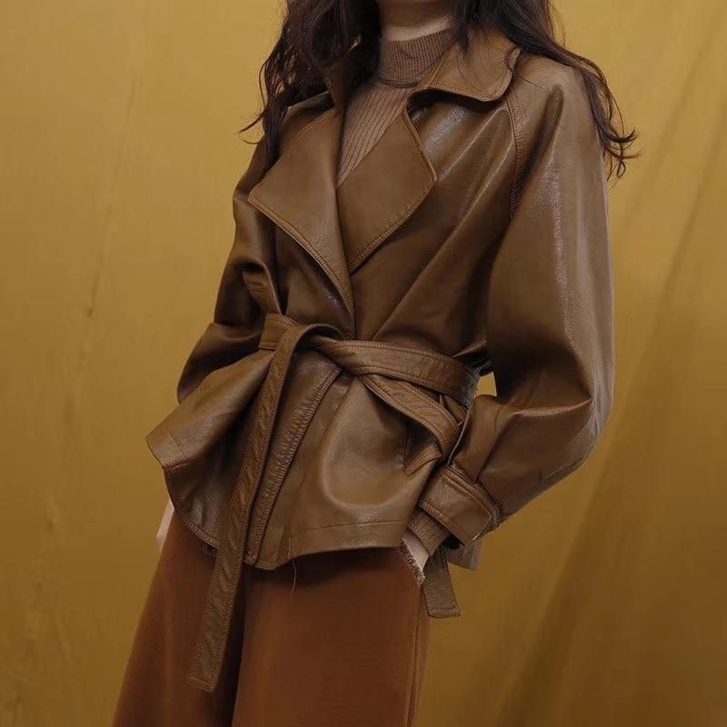 LANMREM 2018 New Fashion Lapel Oversize Bandage Waist PU Leather Jacket Female's