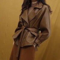 LANMREM 2018 New Fashion Lapel Oversize Bandage Waist PU Leather Jacket Female's Long Sleeve Loose Casual Coat Vestido YF212