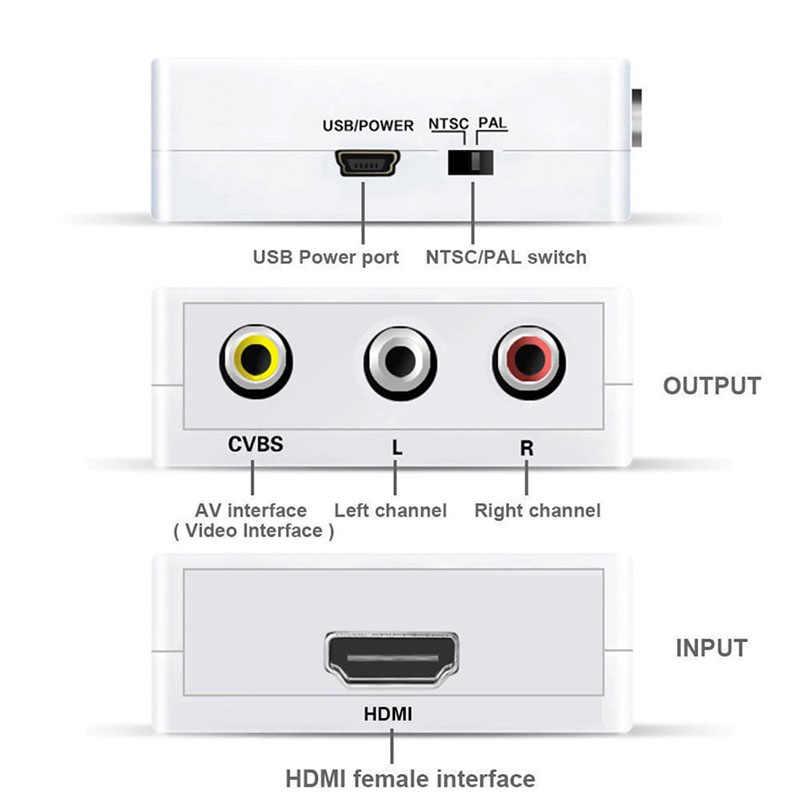 10 1080 P Mini HDMI Ke VGA TO RCA AV Komposit Konverter Adaptor dengan 3.5 Mm Audio Port VGA2AV/ CVBS + Audio untuk PC HDTV Converter
