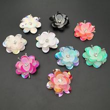 Spot 3D handmade beaded sequins beads flower cloth patch  stickers clothing shoes and hats diy decorative accessories