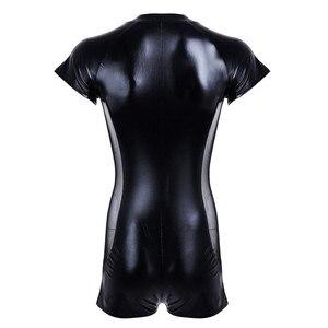 Image 4 - מראה רטוב לטקס בגד גוף דמוי עור רשת סרבלים סקסי הלבשה תחתונה גברים שחור למתוח PVC Bodysuits Clubwear מפשעה פתוחה גוף חליפה