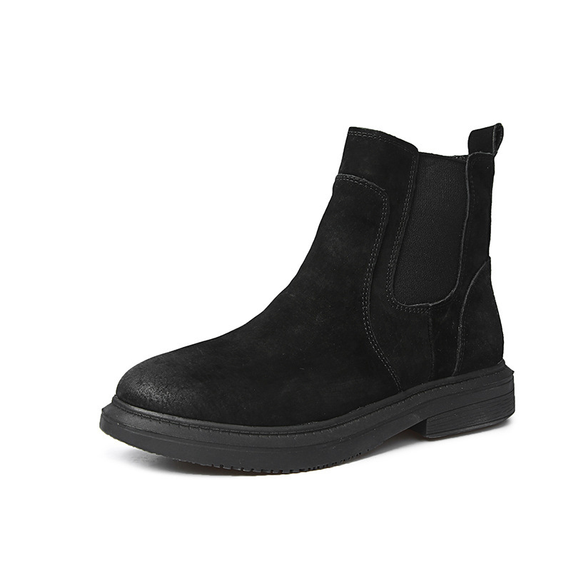 black Coffee Femmes cashmere Bottes Velvet Nouveau Chaussures Hiver Cuir gray List Martin Automne gray Grossier Single Véritable Cashmere Interior black Lane FSzBqH