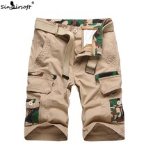 High Waist Men's Cargo Knee Length Short Pants Male Army Camouflage Cotton Shorts Side Big Pockets Summer Streetwear Trousers army green side pockets v neck short sleeves camouflage dress