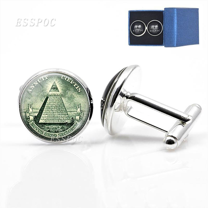All Seeing Eye Men Wedding Cufflinks Silver Plated Suit Shirt Cuff Links Vintage Egyptian Pyramid Jewelry Groomsmen Gifts