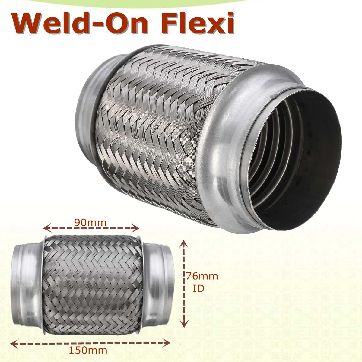Weld-On 3 x 6 Stainless Exhaust Flex Tube Joint Flexi Repair Flexi pipe 76mm x 150mmWeld-On 3 x 6 Stainless Exhaust Flex Tube Joint Flexi Repair Flexi pipe 76mm x 150mm