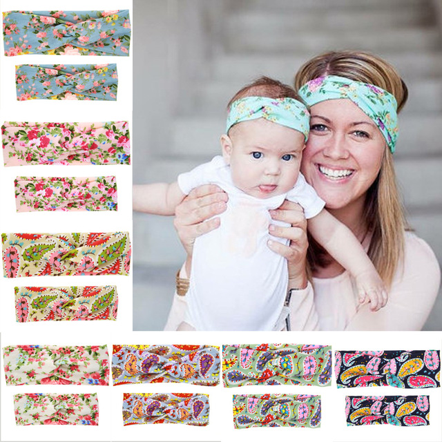 a0a2497011a 2Pc Set DIY Mom Mother   Newborn Girl Kids Rabbit Ears Headband Plaid Bow  Hairband Turban Knot Headwrap Hair Band Accessories