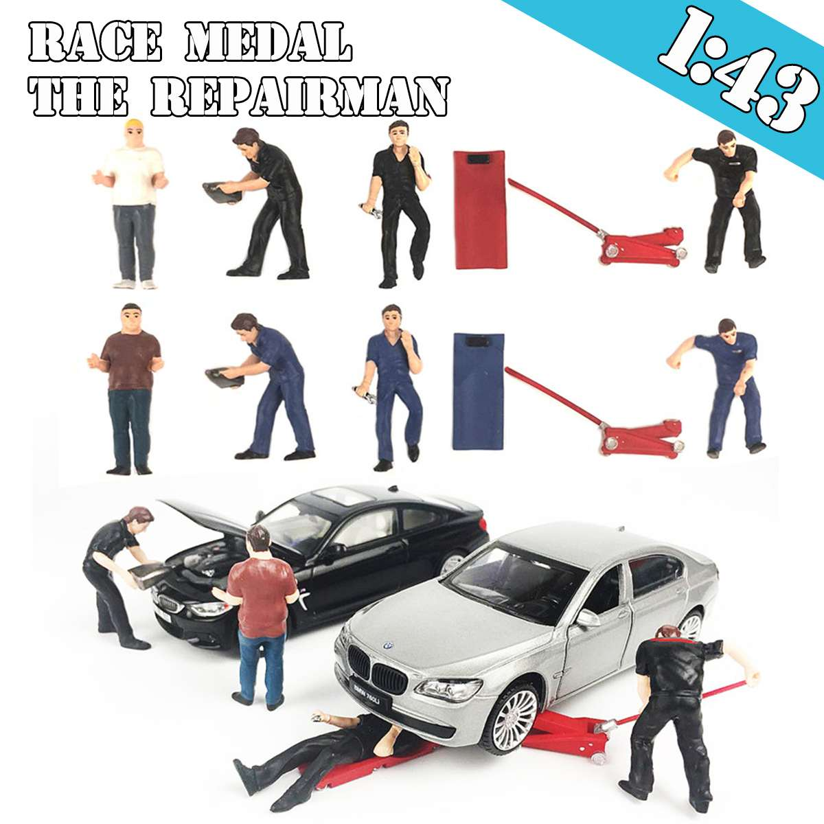 1:43 5pcs People Race Medal Set People Model The Repairman Scenario Model For Matchbox Greenlight M2
