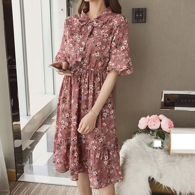 Korean Casual Print Women Dress Bohemian Ladies Flare Half Sleeves Knee-length Bow O-neck Dresses Women Chiffon Dress