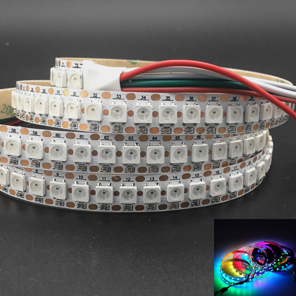 Image 2 - 144 Pixels 1m LEDs WS2812B 2812 WS 2812 LED Chip WS2811 IC Digital 5050 SMD RGB LED Strip DC5V-in LED Strips from Lights & Lighting