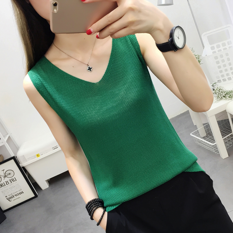 2019 Cotton Linen V Neck Knitted   Tank     Tops   Women Summer Loose Camisole Oversize Female Camis Casual Sleeveless Vest 12 Colors