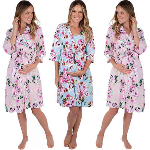 42a0d6abcca23 Fashion Pregnancy Floral Sleepwear Women Maternity Cotton Kimono Sleepwear  Floral Nightgown Pajama Nursing Dress Bathrobe