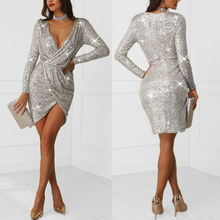 844dadc2 Sexy Womens Sequined Deep V-Neck Wrap Long Sleeve Bodycon Party Club  Shining Silver Mini