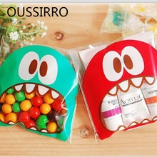 25PCS/Lot Mini Big Mouth Gifts Bags Candy Chocolate Bean Cookies Bag Self-adhesive Biscuit Plastics Bags Xmas Package