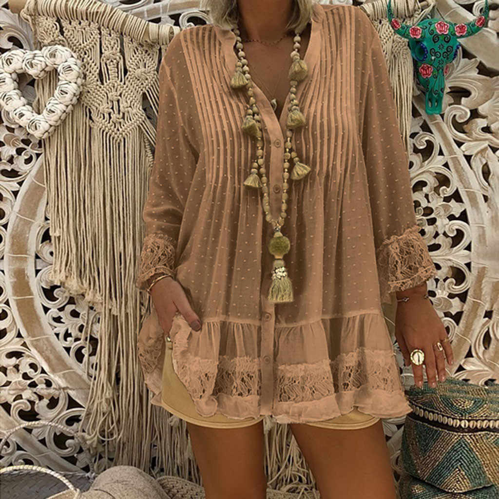 New Fashion Blouse Women V Neck Caftan Boho Beach Cover Plus Size Blouse Ladies Vintage Hippie Baggy Shirts Bayanlar st Female50