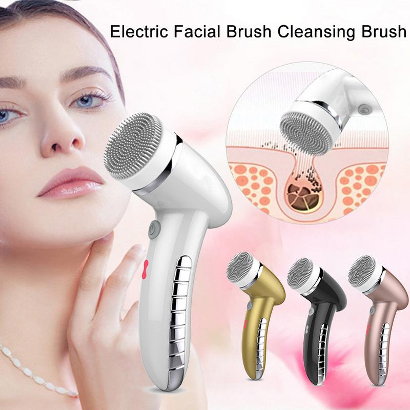 4 In 1 Electric Facial Cleansing Brush Instrument USB Rechargeable Gentle Exfoliating Deep Cleansing Removing Dirt Face Beauty