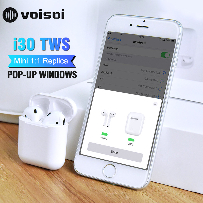 bc8f9730c71 2019 New i30 TWS 1:1 Replica Pop-up Bluetooth Earphone 6D Super Bass  Wireless Earphones i30 TWS PK i20 i18 i10 i12 not W1 Chip