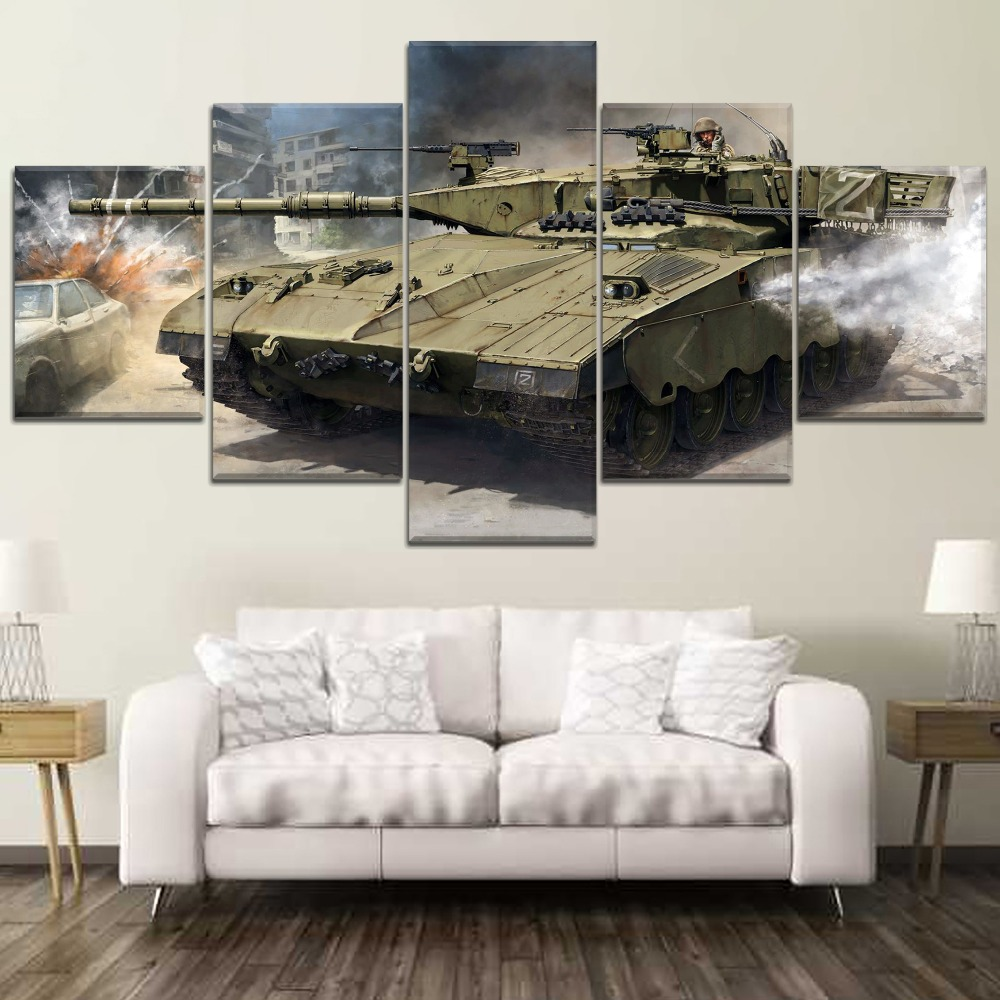 5 Panel Tank War Canvas Printed Painting For Living Room Wall Decor HD Picture Artworks Poster1 in Painting Calligraphy from Home Garden